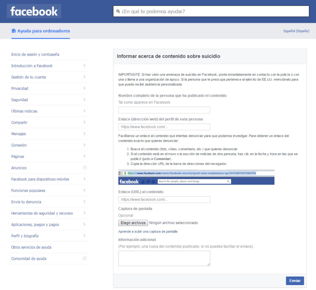 notificar comportamiento suicida facebook